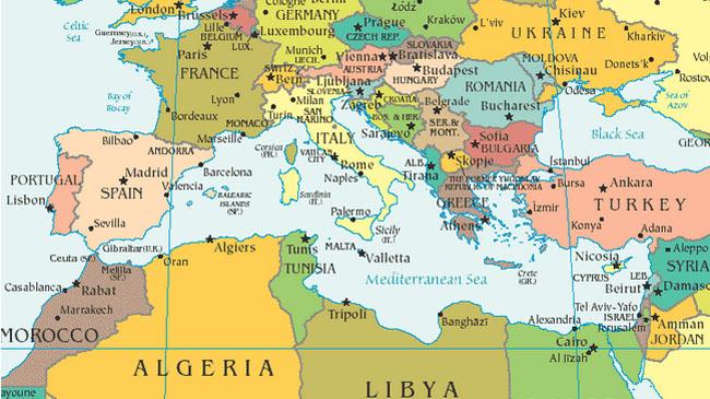 Cartina Geografica Mediterraneo Occidentale.Mediterraneo E Italia